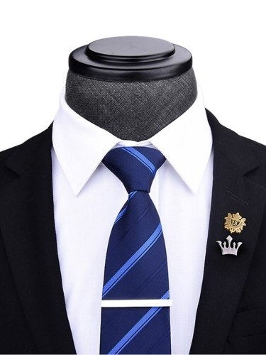 4Pcs Men's Gifts Business Tie With Tie Exquisite Brooch Solid Casual Gift Box Included: tie Brooches 4-6Pcs Strapped