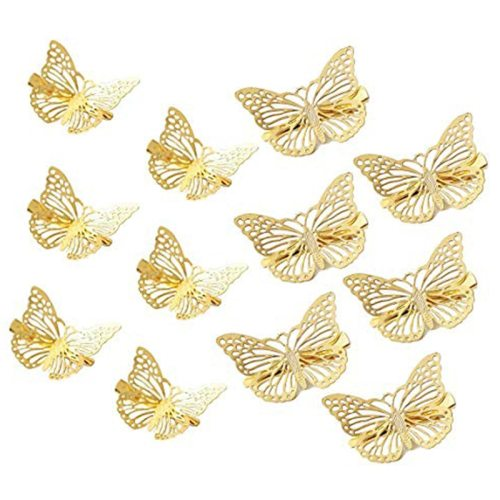 12 Pcs Women's Hair Clip Set Hollow Out Butterfly Design Solid Color Hair Size:38*2cm Fashion Hair Clips Wipe clean