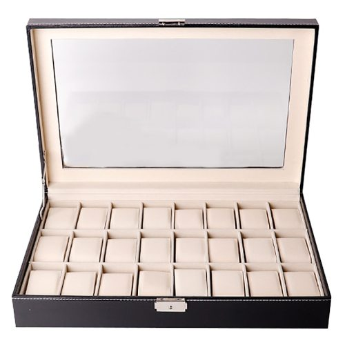 Men's Watch Display Storage Box 24 Slots Plain Style Casual Gift Others Solid Color 0-3Pcs Formal