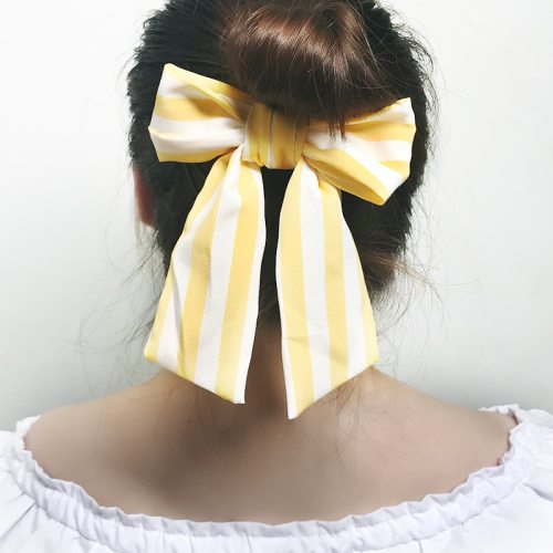 Women's Hair Elastic Personality Striped Pattern Bow Design All Match Hair Accessories Fashion