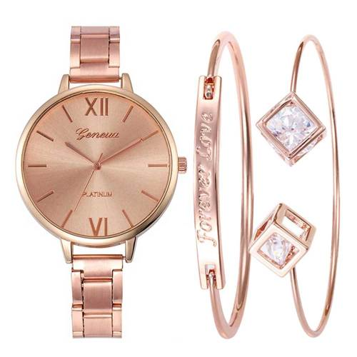3Pcs Women's Watch & Bracelet Set Stylish Dial Jewelry Set Hasp Geometric Letter Alloy Casual Quartz Stainless Steel Women's Watches Round Wipe clean