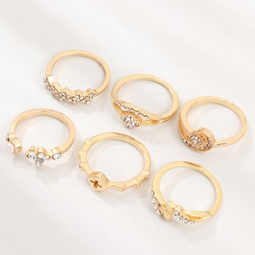6 Pcs Women's Fashion Rings Set Fashion Geometry Rhinestone Simple All-Match Accessories Top Fashion Metal Decoration Vintage Catenary/Necklace