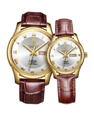 ROCOS 2 Pcs Couple Round Dial Fashion Band Fancy Trendy Genuine Leather Watches Women's Watches Note:Men's Watch is mechanical watch;Women's watch is