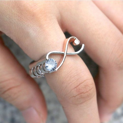 Women's Ring Creative Design Inlaid Infinite Charming Jewelry Rhinestone Solid Color Accessory OL Fashion