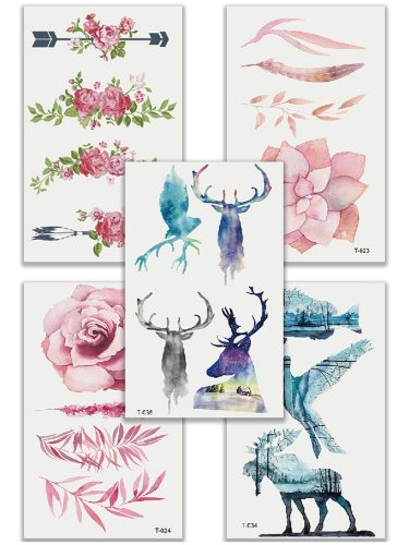 5Pcs Women's Tattoo Stickers Non Toxic Brief Design High Quality Tattoo Sweet Animal Longlasting Accessories