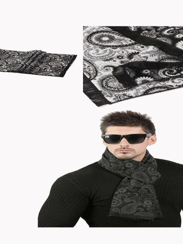 Men's Scarf Jacquard Weave Warm Comfy None Vintage Scarves Accessory Hand wash Winter Scarves