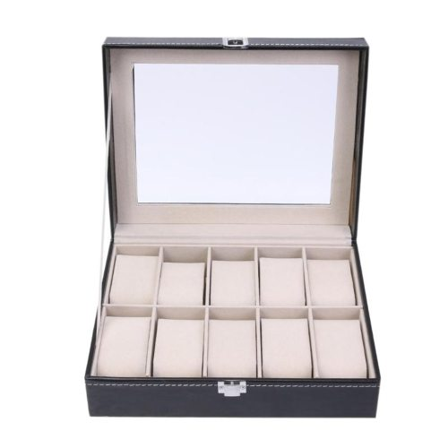 Watch Display Box 10 Case PU Jewelry Box Ring Earrings Storage Machine Sewing Thread Gift Box Fashion