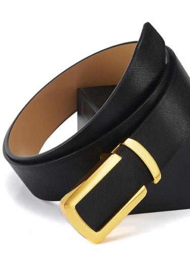 Men's Belt Patchwork Smooth Buckle Men's Belts Accessory Basic Solid Color