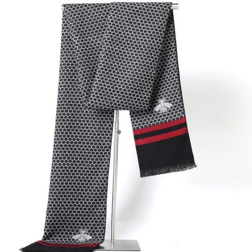 SAN VITALE Men's Scarf Honeycomb Pattern Comfy Warm Geometric Winter Scarves Formal Accessory Hand wash Tassel