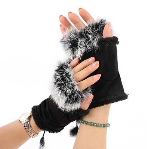 Women's Warm Gloves Simple Half Finger Soft Fashion Casual Pom Poms Hand wash Colorblock