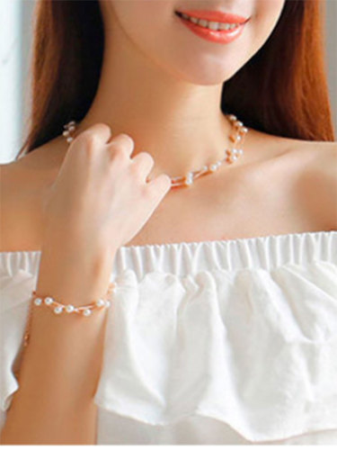 Women's Necklace & Earring Pearl Sweet Stylish Exquisite Fine Infinite Charming Jewelry Accessories