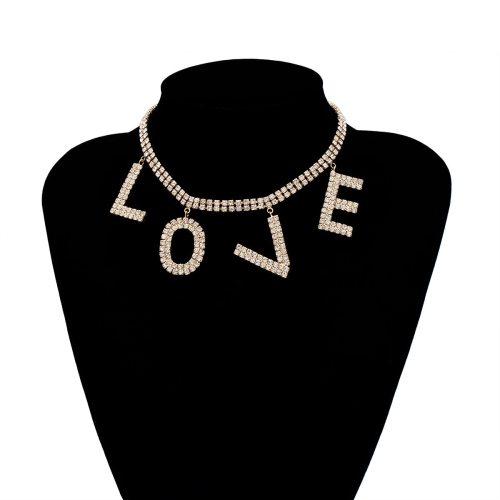 Women's Pendant Collar LOVE Letter Accessory Rhinestone Fine OL Geometric