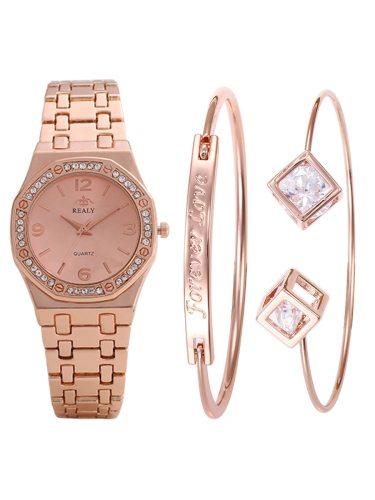 3Pcs Women's Bracelet Watch Set Ladylike Chic Elegant Trendy Accessory Alloy Women's Watches Covered Button Quartz Pointer Rhinestone Stainless Steel