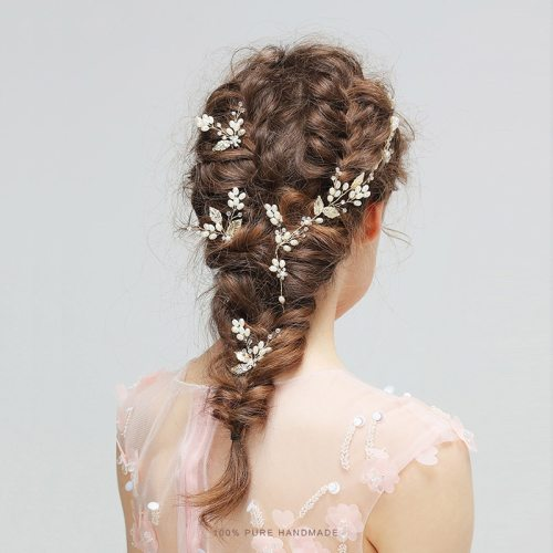 4Pcs Women's Hairband Hairpin Set Exquisite Wedding Hair Note: 1pc hairband + 3pcs hairpins Hair Chains Fine