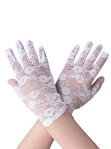 Lace Hollowed Out Elegant Short Pattern Gloves Hand wash Women's Gloves Solid Outdoor