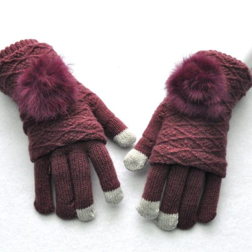 Women's Warm Gloves Fashion Ladylike Gloves Touchscreen Hand wash Vintage Colorblock Pom Poms