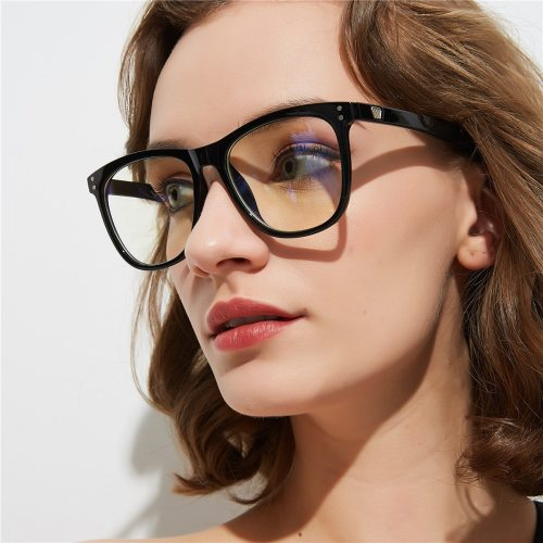 Women's Retro Metal Frame Simple All-Match Character Square Shape Eyeglasses Cat Eye Sweet Accessory Fashion Contrast Color