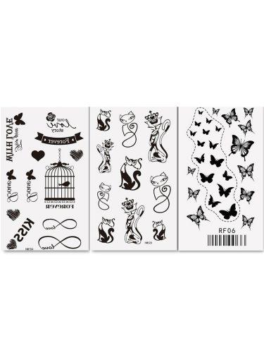 3 Pcs Women's Tattoo Sticker Set Cute Simple Pattern Waterproof Fashion Stickers Animal OL Accessory Sweatproof