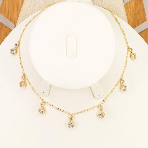 Women's With Pendant Collar Fashion Elegant All-Match Neck Chain Fine Geometric Accessory Infinite Charming Jewelry Top Fashion Rhinestone
