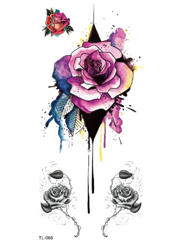 Women's Tattoo Sticker Colorful Rose Flower Tattoo Other Easy Attaching Accessory Geometric