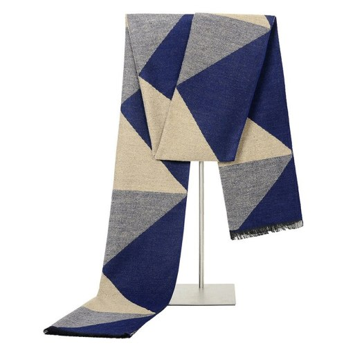 SAN VITALE Men's Scarf Color Block Comfy Warm Geometric Formal Winter Scarves Tassel Accessory Hand wash