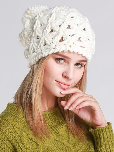 Women's Beanies Cap Hollow Out Sweet Ball Decor Warm Knitted Hat Skullies & Beanies Hand wash Spring/Autumn Accessory Solid