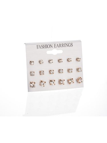 18Pcs Women's Ear Studs All Matched Rhinestone Gorgeous Earrings Basic Accessory