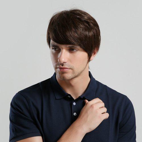 Men's Wig Short Straight Hair Brown Fashion Wig Top Fashion Basic Hand wash Human Hair