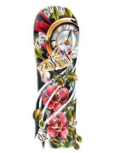 Men's Tattoo Sticker Dragon Flower Clock Pattern Simulation Tattoo Accessory