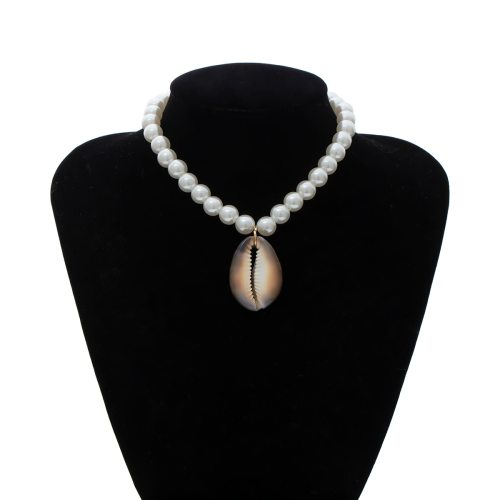 Women's With Pendant Collar Pearl Decor Shell Design Personality Top Fashion Accessory Solid Color