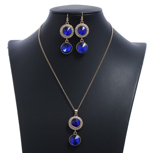 Women's Necklace & Earrings Set Round Pendant Patchwork Wedding Casual Crystals Fashion Fruit Catenary/Necklace