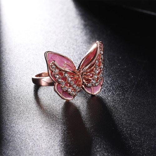 1 Piece Women's Ring Butterfly Pattern Stylish Ring Accessory Geometric Rhinestone Casual Fashion