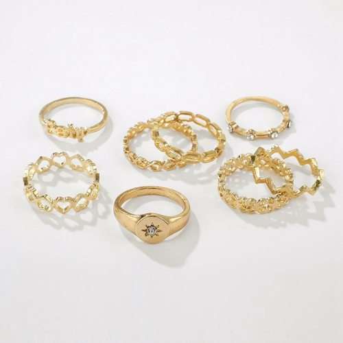 8 Pieces Women's Ring Set Letter Heart Rhinestone Elegant Vintage Fashion Accessory Solid Color Carving