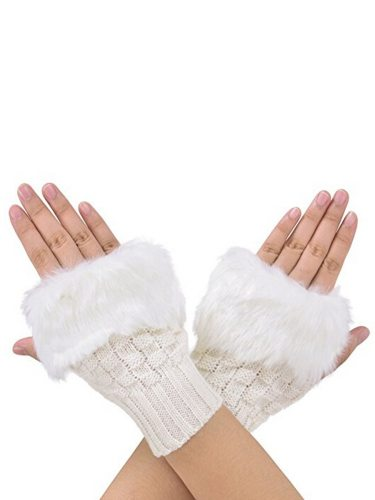 Winter Knitted Faux Fur Fingerless Soft Warm Mitten Glove Solid Women's Gloves Outdoor Machine wash