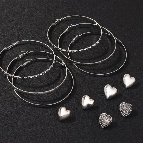 6 Pairs Women's Studs Ladylike Solid Color Hoops All Match Earrings Basic No Inlay Allergy Free Metal Decoration Geometric Heart Shape Accessory Top