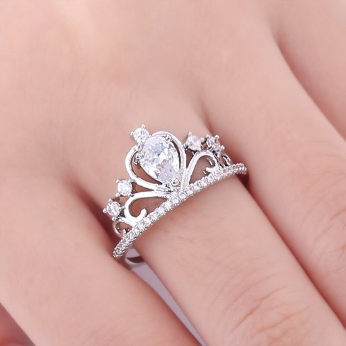 Women's Fashion Ring Simple Zircon Crown Decoration SILVERAGE Vintage Rhinestone Accessory Fine Solid Color