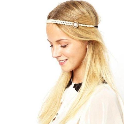 1Pc Women's Hair Chain Imitation Peal Chic Hair Fashion Hair Elastic