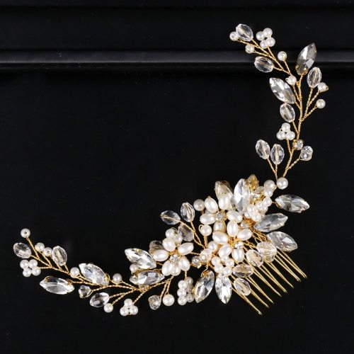 Women's Hair Chain Wedding Bride Pearl Rhinestone Decor Hair Comb Hair Accessories Fashion