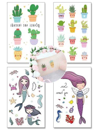 4 Pcs Women's Tattoo Stickers Mermaid Temporary Cactus Pattern Non-Toxic Tattoo Other Sweatproof Cartoon