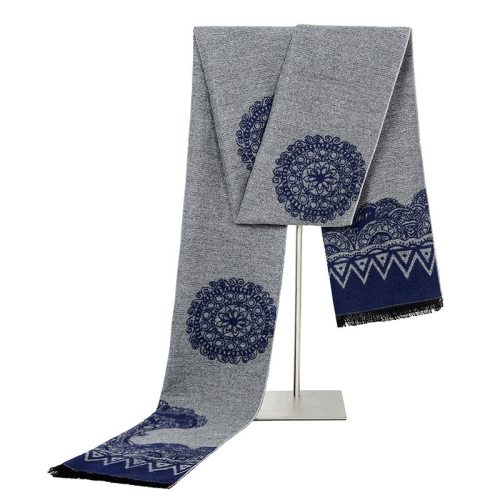 SAN VITALE Men's Scarf Floral Color Block Vintage Style Geometric Winter Scarves Formal Hand wash Accessory Tassel
