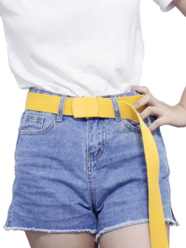 Women's Candy Color Casual Simple Design Canvas Accessories jeans belt Fashion Multi-loop Solid