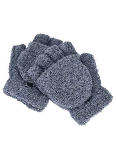 Women's Warm Gloves Coralline Color Flip Half Finger Solid Hand wash Touchscreen