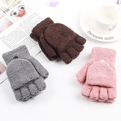 Unisex Gloves Coral Velvet Flip Half Finger Gloves Simple Cold Writing Internet Dual-use Warm Solid Color Sweet Outdoor