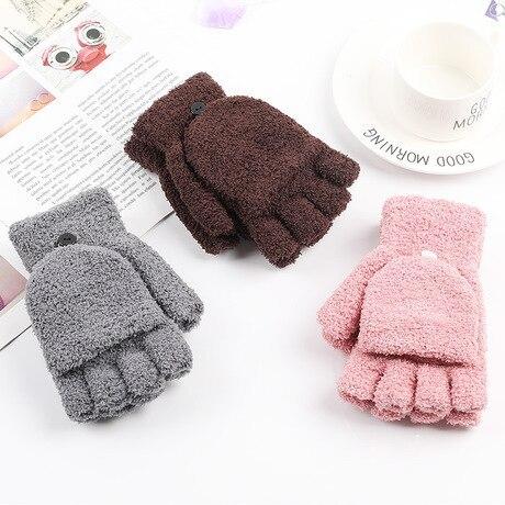 Unisex Gloves Coral Velvet Flip Half Finger Gloves Simple Cold Writing Internet Dual-use Warm Solid Color Sweet Outdoor
