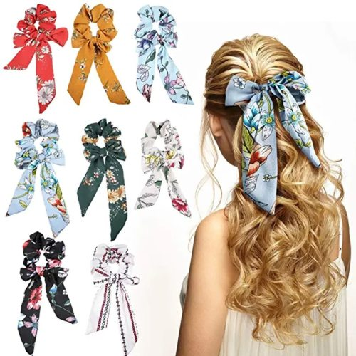 3 Pcs Women's s Ribbon Design Print Ladylike Hair Bow Hair Elastic Fashion Floral