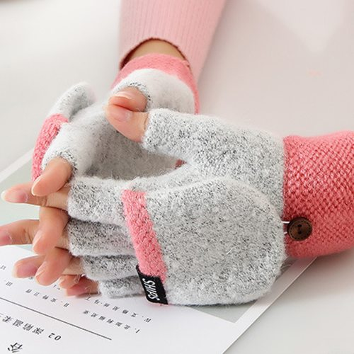 Women's Warm Gloves Fashion Color Block Cover All-Match Outdoor Candy Color Hollow out Pastoral Hand wash