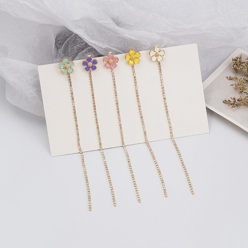 One Pair Women's Drop Earrings Sweet Flower Chain Fashion Floral Simple/Neutral Tassel Others Flower/Fruit/Plant No Inlay