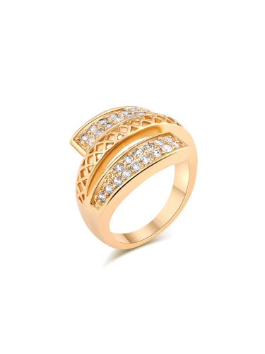 KUNIU Women's Rings Stylish Hollow Out Exquisite Zircon Stones Inlay Fashion Accessory