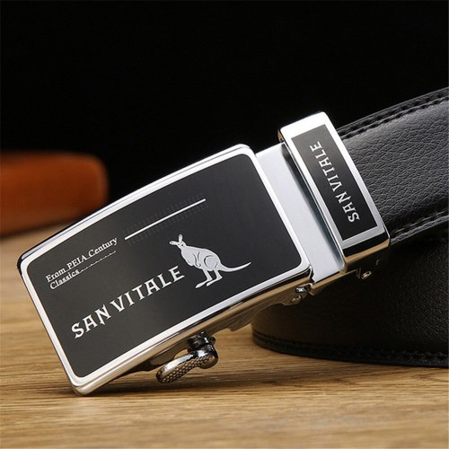 Men's Belt Fashion All Match Automatic Buckle Business Metal Decoration Accessory Solid Color Basic Men's Belts