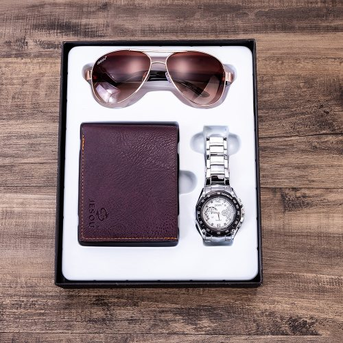 Men's 3 Pcs Gift Set Fashion Watch Mini Purse Simple Glasses Creative Others Sports Gift Box 0-3Pcs Wallet